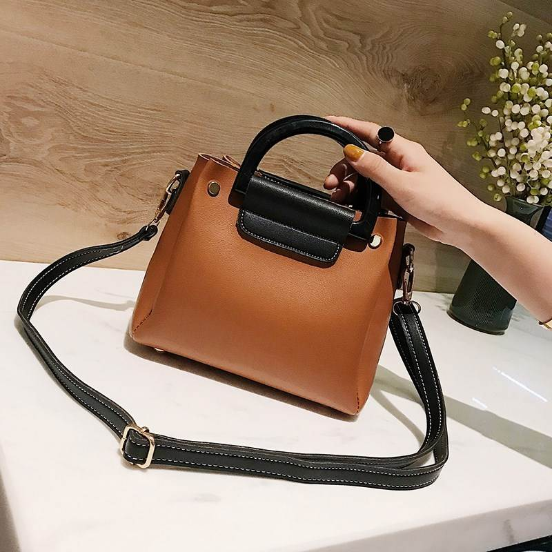 School style fashion large capacity color contrast handbag for women 2018 new season girls classic mother and son bag