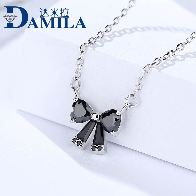 Ceyu boutique female simple personality creative design black bow set with black zircon sweet temperament Necklace female