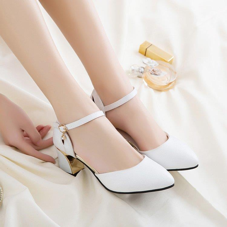 Womens bag heel pointed head bag sandals womens skirt middle heel students gentle with womens hollow Retro