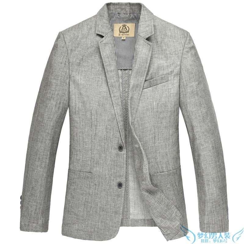 New spring and autumn oversize plus size fat linen suit business casual suit slim mens thin coat