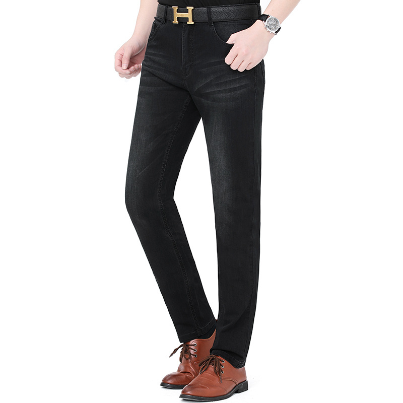 New product 2021 mens straight jeans middle age fashion new Playboy business leisure pants package