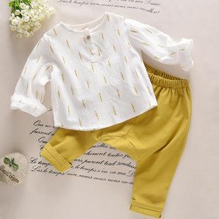 男童棉麻长短袖两件套1-2-3-4岁宝宝套装5婴儿童宝宝春秋款6岁潮
