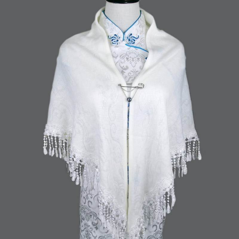 With elegant triangular womens cheongsam shawl scarf, bride tassel with spring and autumn versatile Qipao with small Cape
