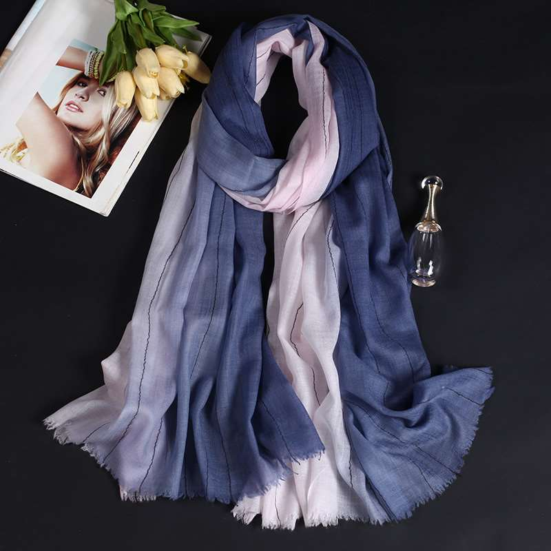 Pure wool soft long stripe gradient womens scarves elegant decorative scarves spring and winter holiday shawl