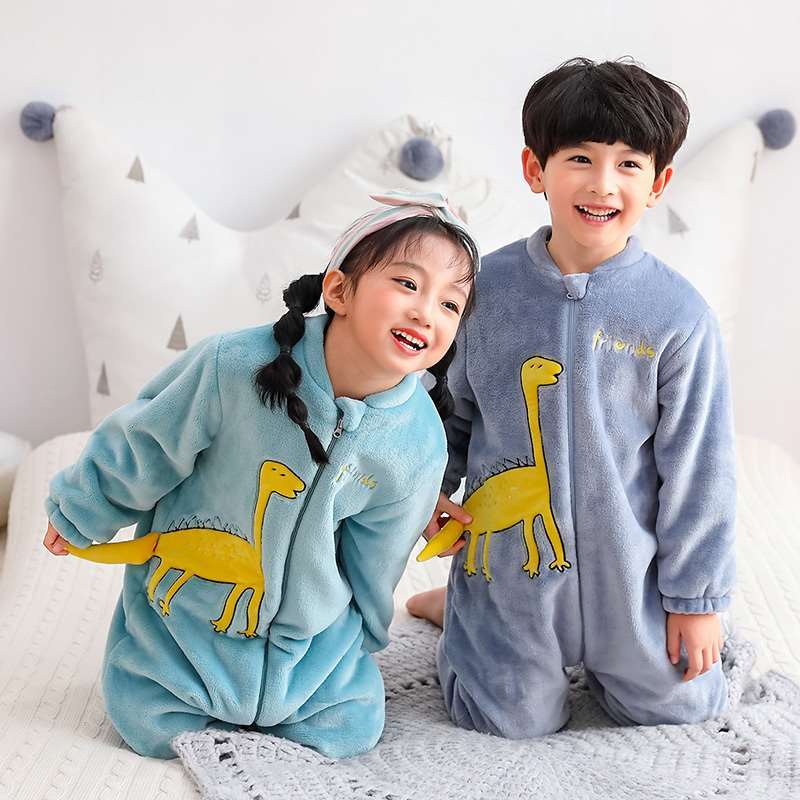 One piece pajamas childrens autumn and winter thickened sleeping bag baby coral flannel Khaki anti kick home suit mens and womens wear