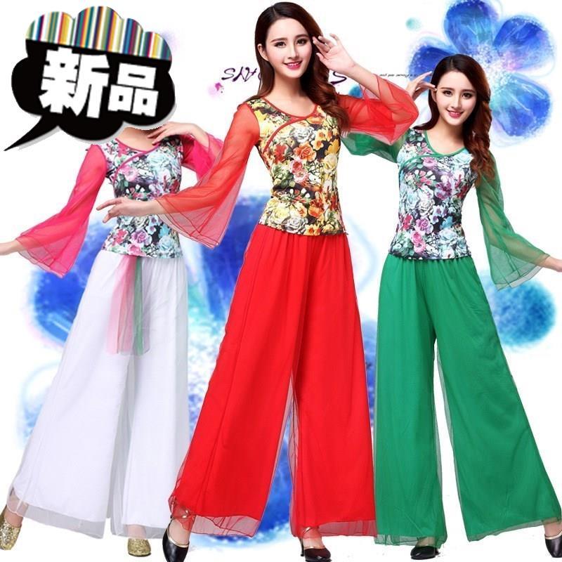 广场舞服装b2019春秋新款套装民族风中老年跳秧歌舞蹈演出服。