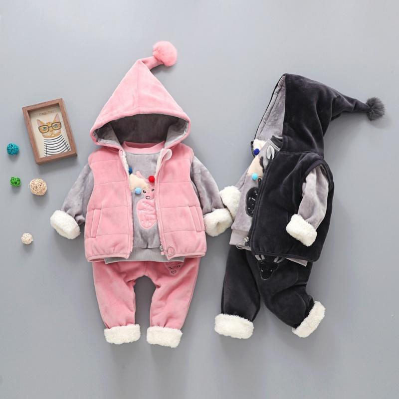 童装冬款淘宝爆款 精品童套装男童女童金丝绒小鹿梅花鹿三件套
