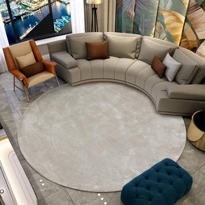 圆形北欧现代轻奢纯色手工羊毛地毯