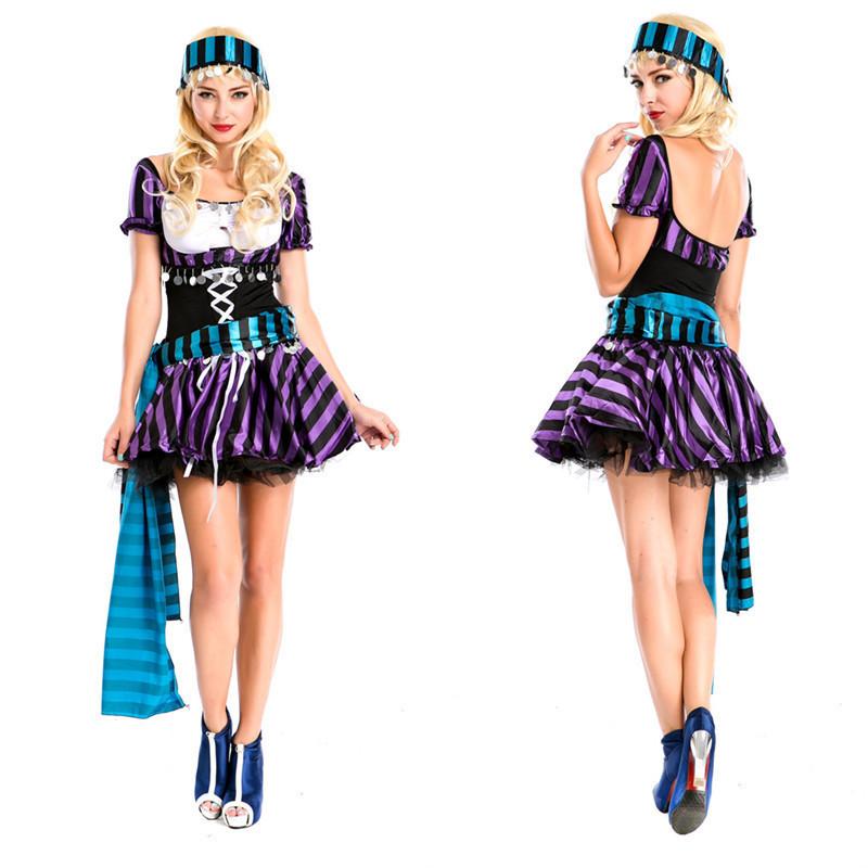 パープルカリビアンの海賊服欧米のゲームユニフォームハロウィンのコスプレ海賊服