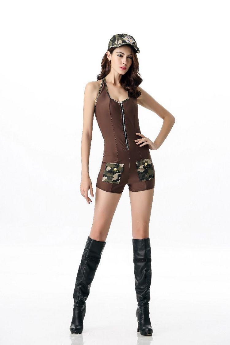 新スタイルのセクシーな女性制服のコスプレベスト迷彩撮影演出衣装アウトドア服