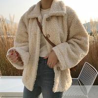 chic羊羔毛外套女冬季加厚夹克秋装2018新款韩版宽松毛绒绒短外套