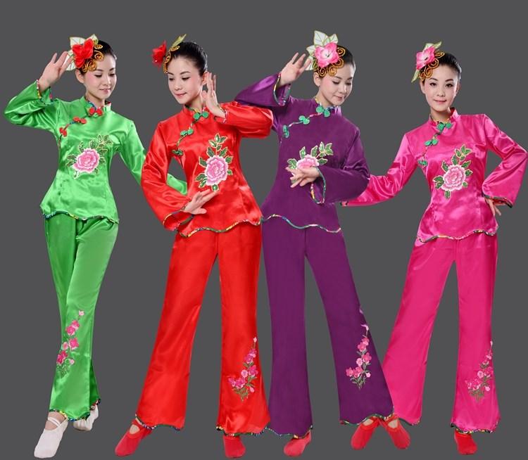中老年人舞蹈服秧歌服秋冬季广场舞蹈跳舞服装新款秧歌服四色长袖