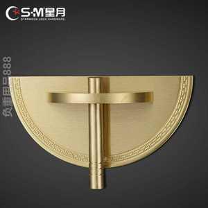 新款纯铜对开拉手圆形加厚黄铜实木家具门把手古典新中式复古柜门