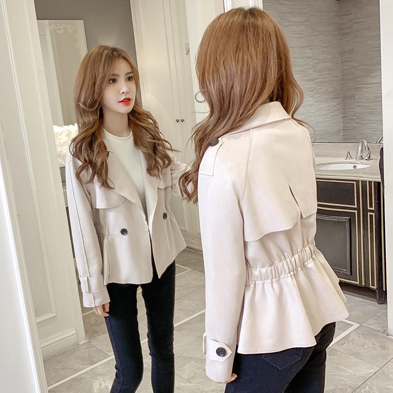 女士短外套2021秋季新款韩版鹿皮绒双排扣翻领收腰荷叶边工装夹克