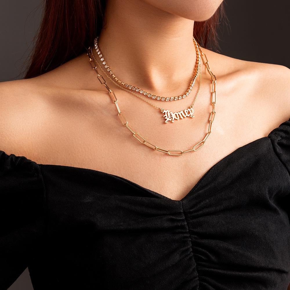欧美跨境饰品 ins潮流个性哥特式字母颈链 时尚简约多层链条项链