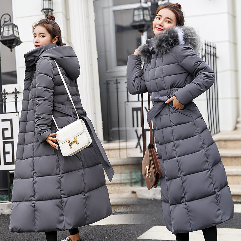 Cotton padded womens long style over the knee 2020 new winter wear Korean version belt slim down cotton padded jacket jacket woman