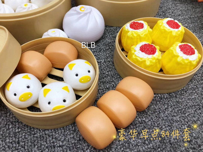 Chinese and Western steamed buns tea and dinner kitchenware model childrens luxury cooking house 84