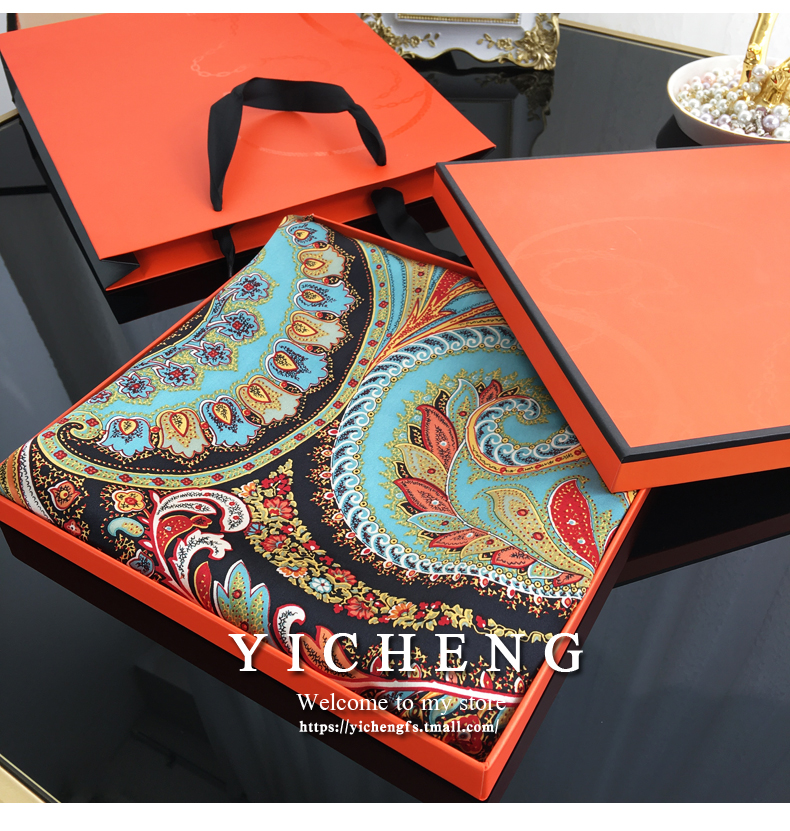 Heavy weight plain crepe satin paisley pattern silk scarf for women