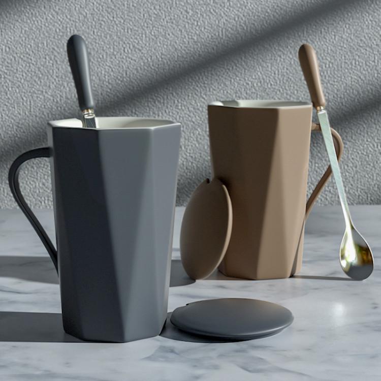创意潮流杯子陶瓷马克杯带盖勺北欧ins个性大容量办公室水杯家用