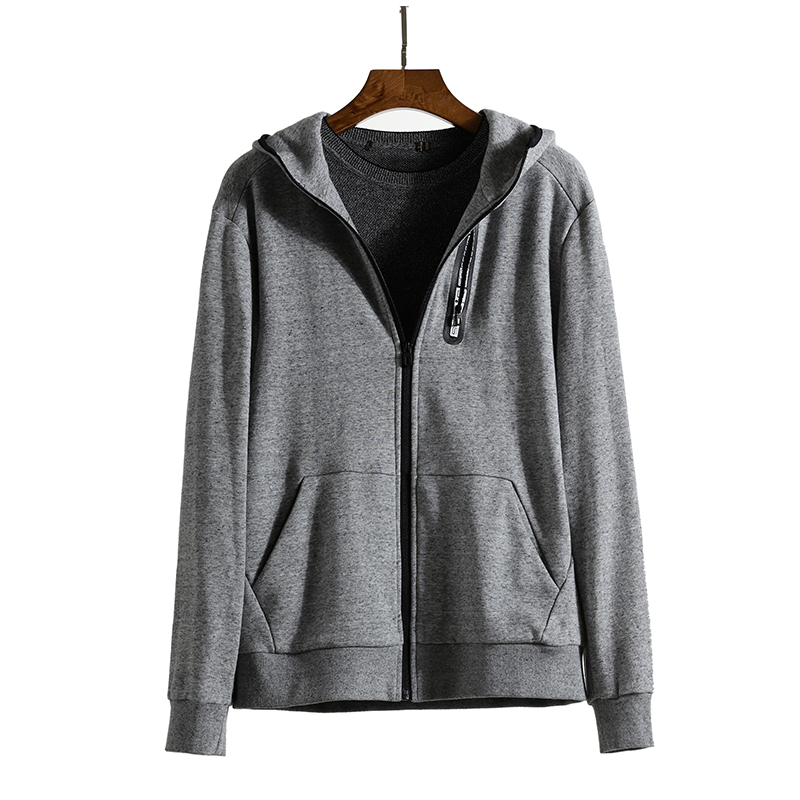 Its good to wear, its soft, new autumn grey casual hooded zipper coat, fashionable mens top