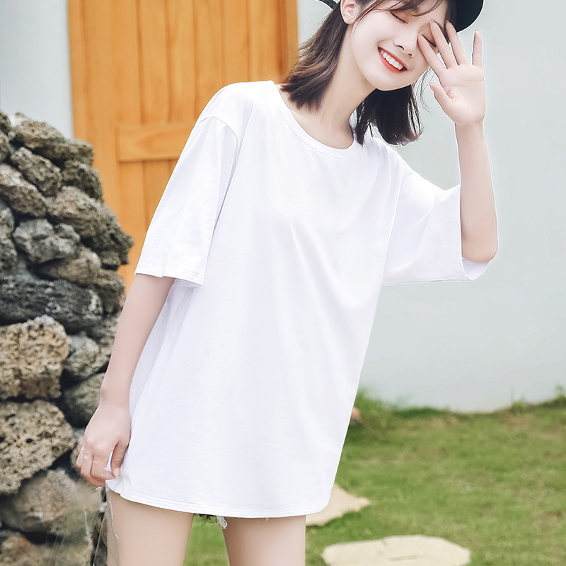 Pure white T-shirt women's short sleeve ins fashion loose medium long pure cotton large women's black top in summer 2020