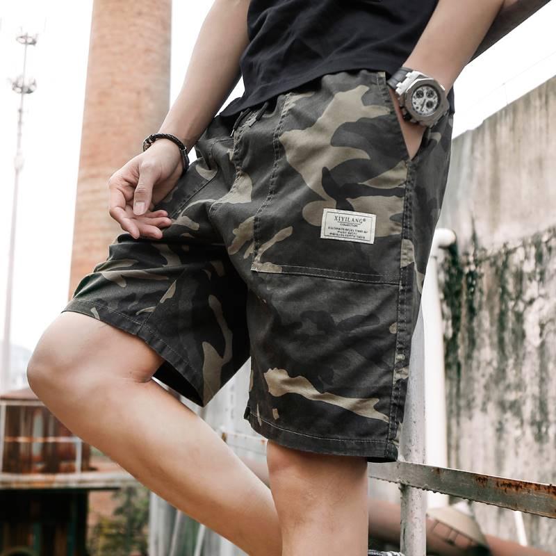Camouflage loose mens sportswear pants Korean fashion casual shorts beach pants tide brand summer Capris