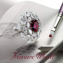 高端珠宝定制钻石红蓝宝石首饰18K金戒指加工代镶嵌空托豪镶手链