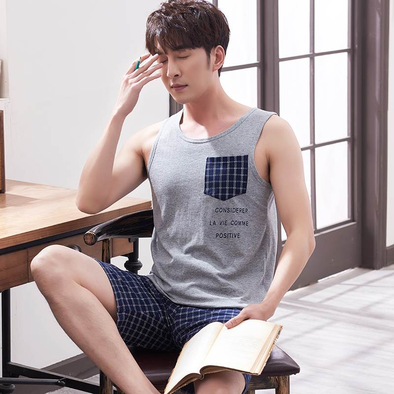 Mens Vest pajamas pure cotton summer thin shorts two piece suit loose oversize mens sleeveless home wear