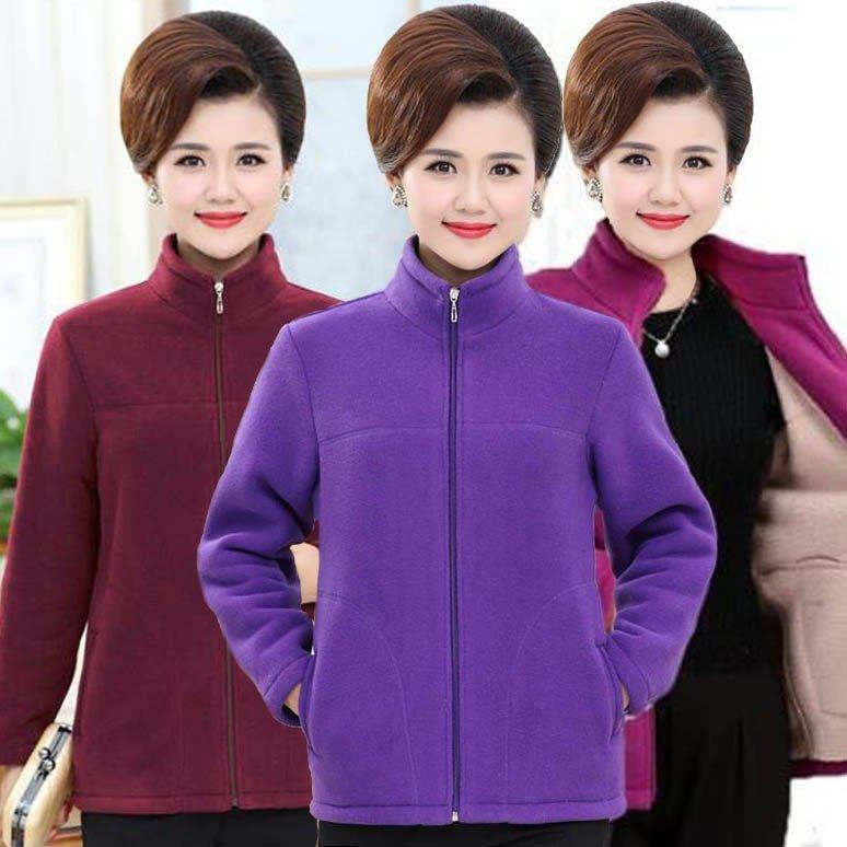 加秋冬外套女40岁50中老年加大码绒衫运动服中年老人上修身