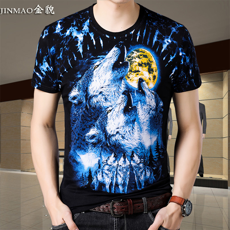 American apple summer mens short sleeve T-shirt thin round neck middle-aged personality half sleeve wolf head dragon design t-shirt