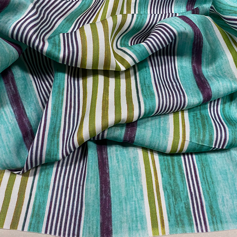 High grade flax vertical stripe fabric cool in spring and summer, draping feeling, printed cotton and linen dress, robe and trousers fabric
