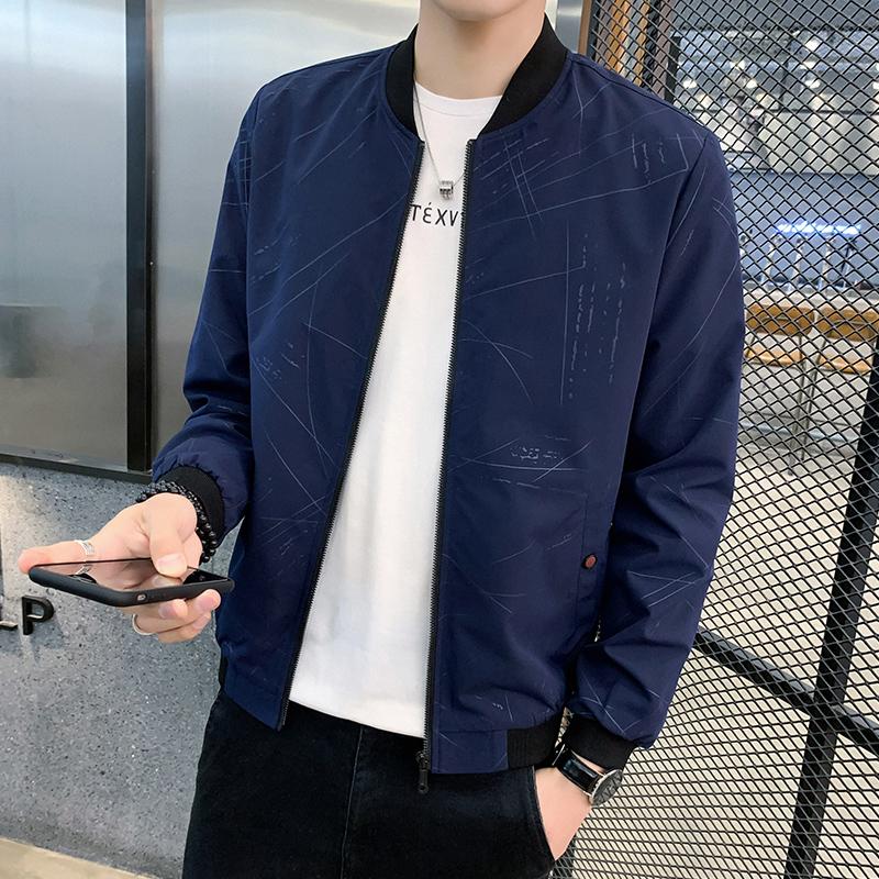 男性用ジャケット2020秋の新型ファッションファッションファッションのストライプジャケット男性春と秋の格好良い男性用上着