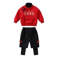 宝宝拜年服女童卫衣套装加绒加厚女宝过年衣服红色喜庆小童新年。