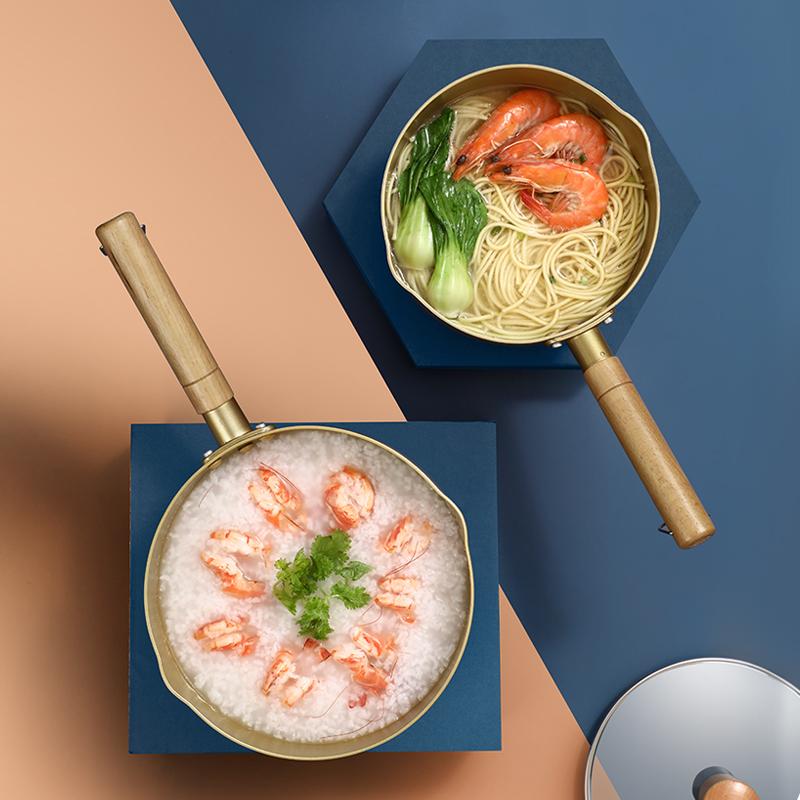 网红韩式泡面锅家用小煮锅汤锅方便面锅小铜锅一人用黄铝锅拉面锅