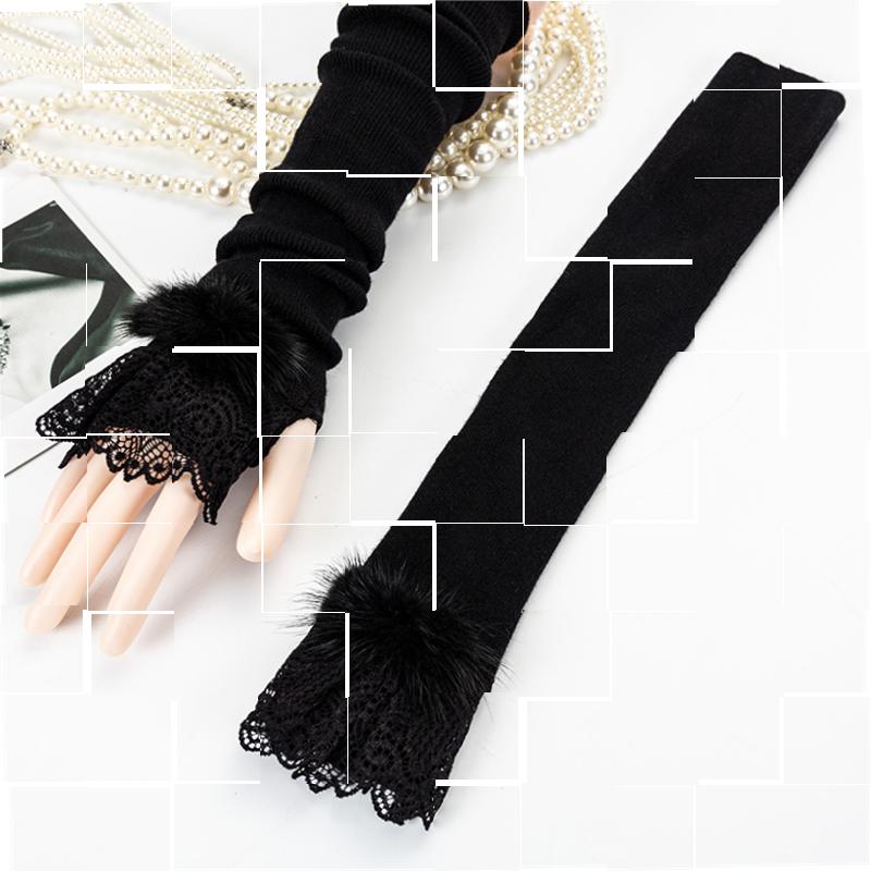 秋冬新品绒手套洋气保暖袖套羊毛蕾丝边时髦手臂套过肘假袖子。