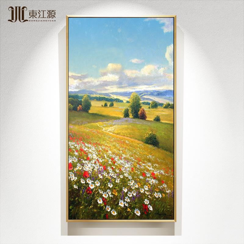 走廊過道壁畫定制成品輕奢高端美式玄關畫手繪風景油畫裝飾畫掛畫