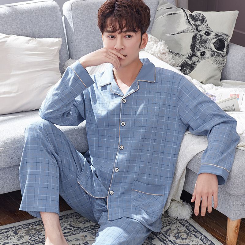 Mens pajamas spring and autumn Cotton autumn long sleeve trousers home clothes cotton mens oversized mens thin suit