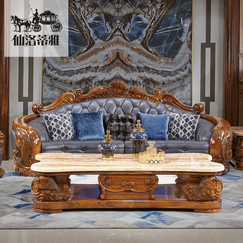 Imported African ebony sofa top layer cowhide villa sofa Club luxury house furniture Koi