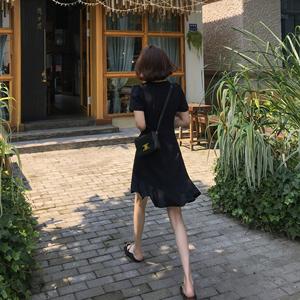 ■大女人style黑色v领女小连衣裙
