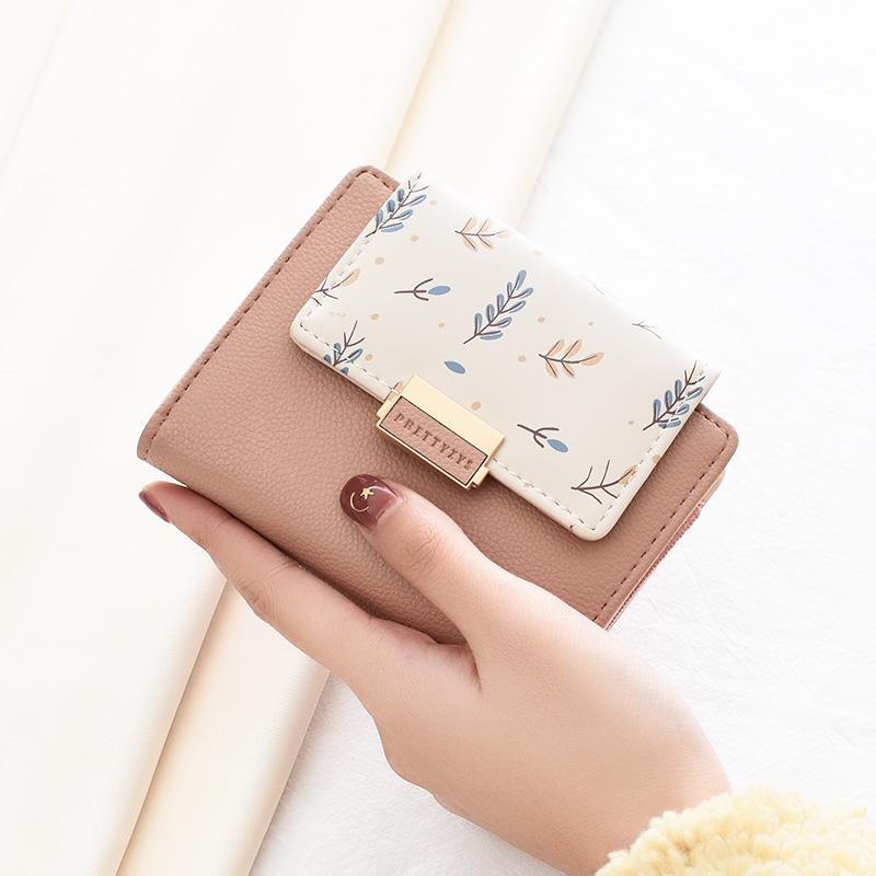錢包女短款2020新款小CK錢包學生韓版可愛零錢包小清新印花小錢包