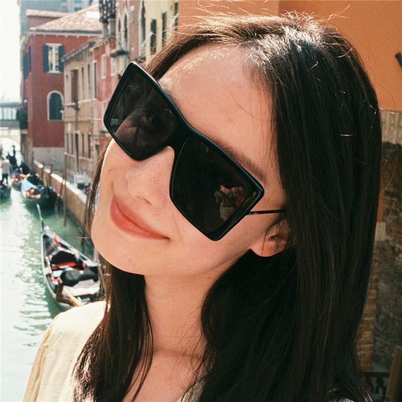 朱锁锁倪妮同款墨镜女方形超大框太阳镜大脸显瘦网红蹦迪酷炫眼镜