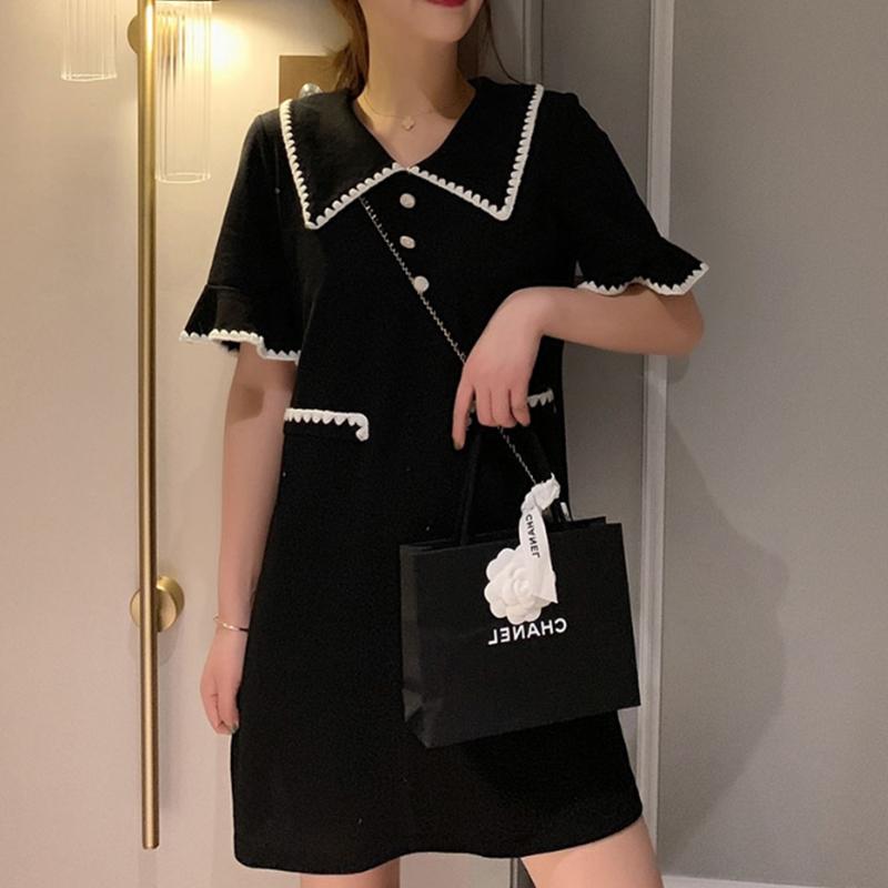 10月29日最新优惠微胖女孩穿搭遮胯显瘦娃娃领大码连衣裙子女装2019年新款潮夏洋气