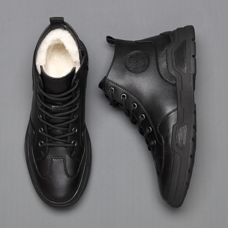 Mens high top shoes winter new Korean fashion casual board shoes mens gaobang shoes fashion mens wool cotton shoes