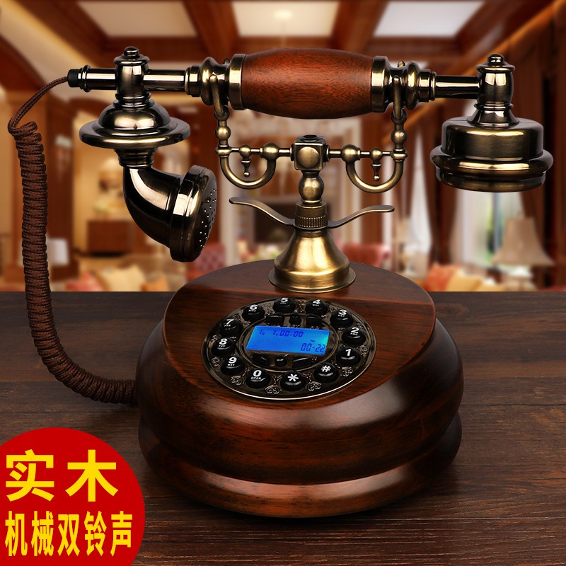European style American style antique telephone solid wood rotary old China Telecom Unicom mobile wireless card landline