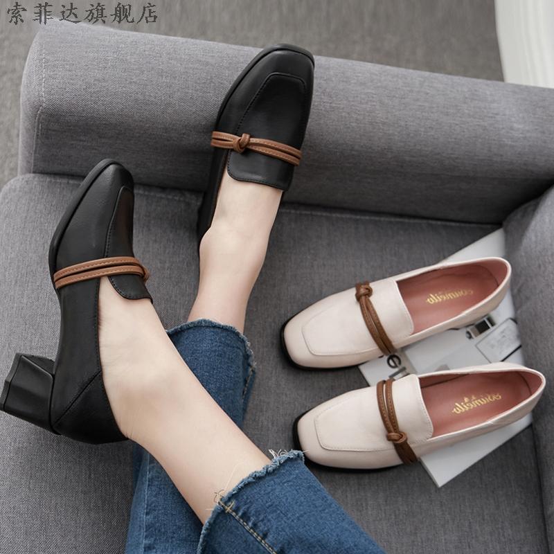 2020年春季新款百搭中粗跟春秋单鞋学生十八岁英伦高跟女鞋小皮鞋
