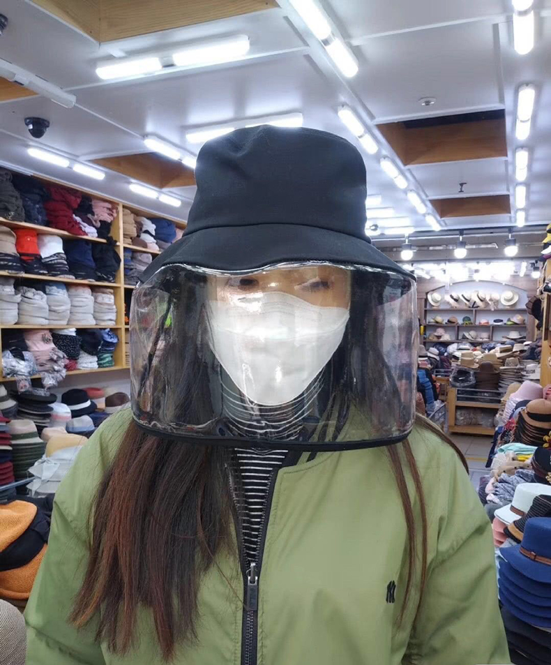 帽子韩国时尚东大门防护帽防唾沫防尘渔夫女夏面罩防寒挡风遮脸