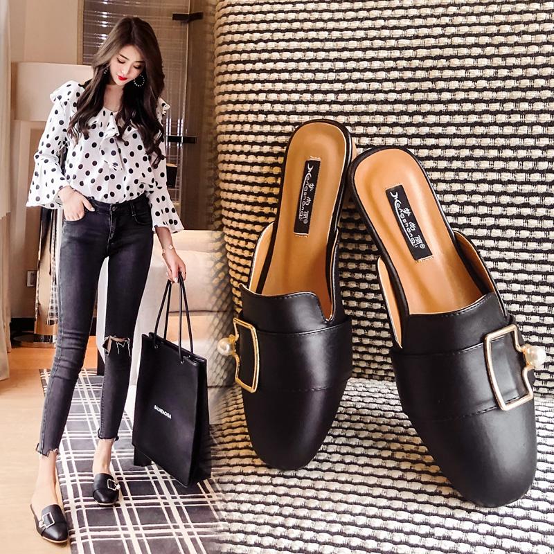 (用75.6元券) 19新款懒人外穿拖包头半拖鞋女凉鞋