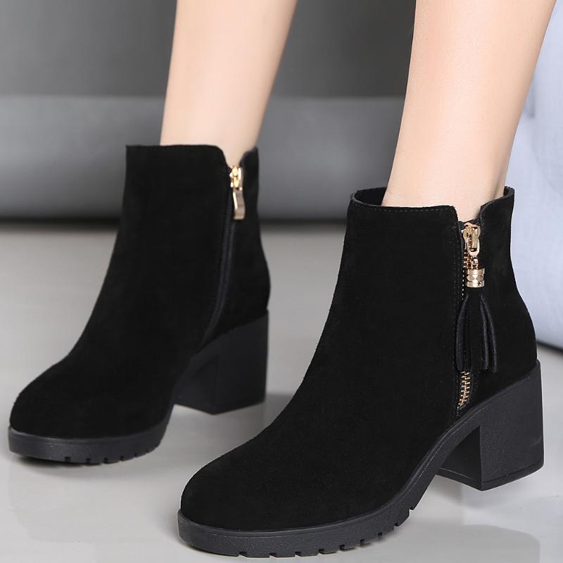 39粗跟短靴女鞋子2020新款马丁靴防水台厚底单靴棉鞋中跟女靴