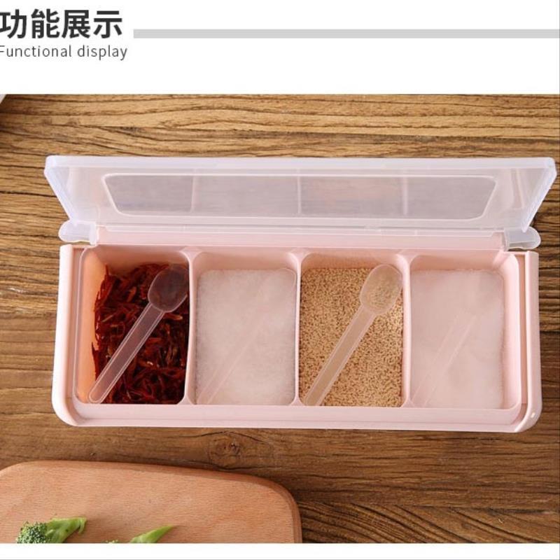 厨房用品收纳神器多功能盐糖调料盒置物架北欧风四格一体家用创意满11.80元可用4.48元优惠券