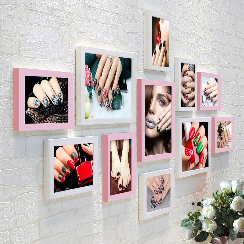 美甲照片墙贴纸框会所壁画美容院化妆品店背景墙装饰相框墙挂画